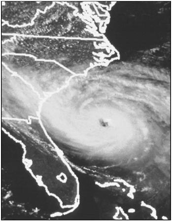 Hurricane Hugo prepares to strike Charleston, South Carolina, in 1989. (Courtesy of National Oceanic and Atmospheric Administration (NOAA)/National Environmental Satellite, Data, and Information Service (NESDIS).)
