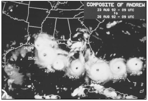 Hurricane Andrew's path of destruction, August 1992. (Courtesy of National Oceanic and Atmospheric Administration (NOAA)/National Environmental Satellite, Data, and Information Service (NESDIS).)
