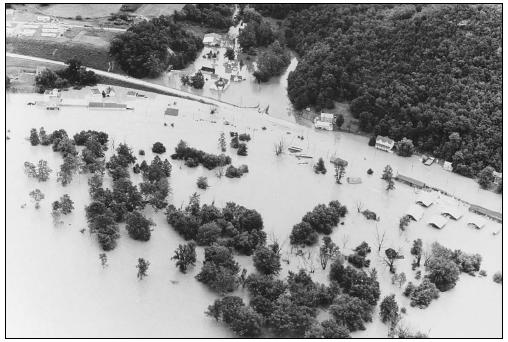 Tropical Storm Agnes caused extensive flooding throughout the northeastern United States in 1972. (Photo courtesy of United States Coast Guard.)