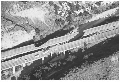 Many California freeways were subject to partial collapse during the Northridge quake in 1994, such as this section of the Golden Gate Freeway. (Photo by Robert A. Eplett. Courtesy of Governor 's Office of Emergency Services.)