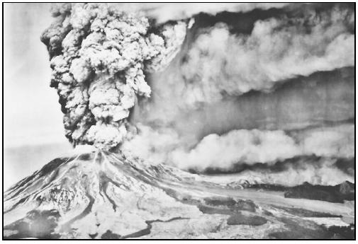 Mount St. Helens erupting in 1980. (Photo from U.S. Geological Survey (USGS) Photographic Library. Reproduced by permission.)