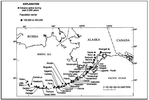 Volcanoes of the Aleutian Island arc. (Courtesy of U.S. Geological Survey (USGS).)